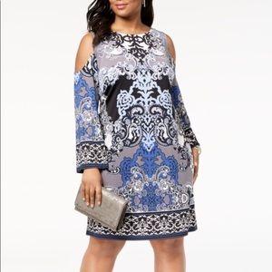 I.N.C Plus Sized Printed Could Shoulder Dress